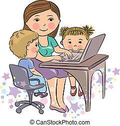 beschäftigt, mutter, arbeiten, mit, kinder