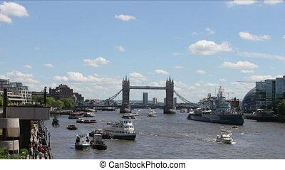 beschäftigt, Themse, Fluß, tageszeit