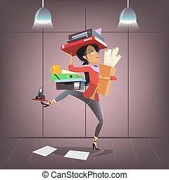 beschäftigtes büro, geschaeftswelt, persönlicher assistent, firma, zeichen, style., vektor, weibliche , multitasking, manager., karikatur, vorgesetzter, oder, sekretärin