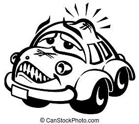beschadigd, auto, illustratie
