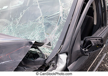 beschadigd, auto, vensters