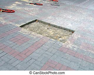 beschadigd, baksteen, straat, bouwsector, details