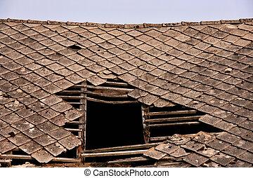 beschadigd, dak