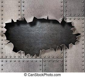 beschadigd, metaal, harnas, met, gescheurd, gat, achtergrond