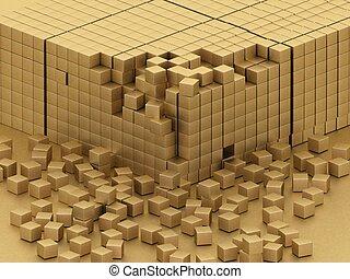 beschadigd, montage, van, goud, blokjes