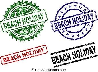 beschadigd, textured, strandvakantie, zeehondje, postzegels