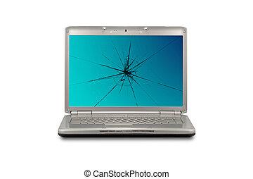 beschadigde computer, scherm