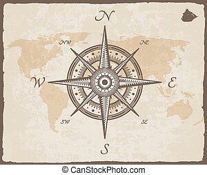beschaffenheit, papier, vektor, compass._old, weinlese, landkarte, nautisch