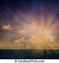beschaffenheit, wolkenhimmel, wasserlandschaft, himmelsgewölbe