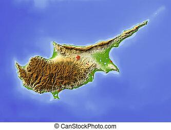 beschattet, erleichterung karte, zypern