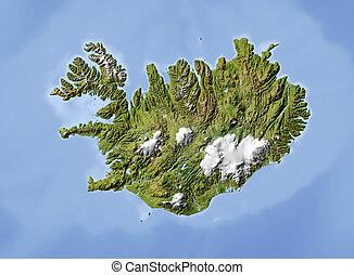 beschattet, map., erleichterung, island