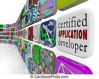 bescheinigt, anwendung, entwickler, apps, programmierung,...
