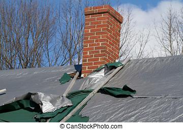 beschermen, beschadigd, tarps, dak
