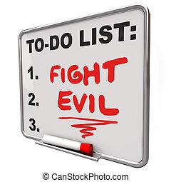 beschermen, bevestigen, lijst, kwaad, vechten, veiligheid, woorden, verbeteren