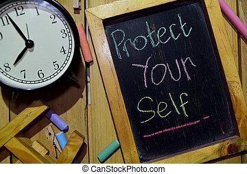 beschermen, kleurrijke, je, chalkboard, frase, met de hand geschreven