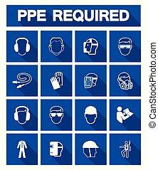 beschermend, veiligheid, pictogram, uitrusting, (ppe), ...