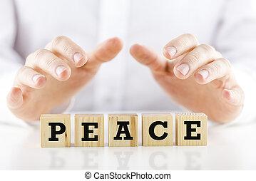 beschermend, woord, boven, vrede, holdingshanden, man