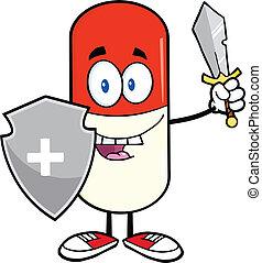 beschermer, capsule, pil