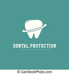 bescherming, dentaal, vector, ontwerp, mal, logo