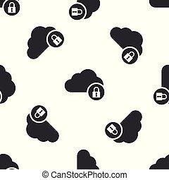 bescherming, gegevensverwerking, slot, concept., vrijstaand, illustratie, grijze , achtergrond., vector, seamless, model, witte , pictogram, veiligheid, wolk, veiligheid