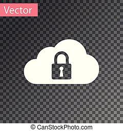 bescherming, gegevensverwerking, slot, concept., vrijstaand, illustratie, transparant, achtergrond., vector, witte , pictogram, veiligheid, wolk, veiligheid