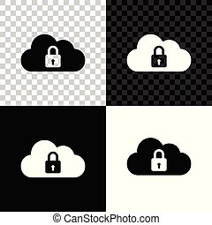 bescherming, gegevensverwerking, slot, concept., vrijstaand, illustratie, transparant, achtergrond., vector, black , witte , pictogram, veiligheid, wolk, veiligheid