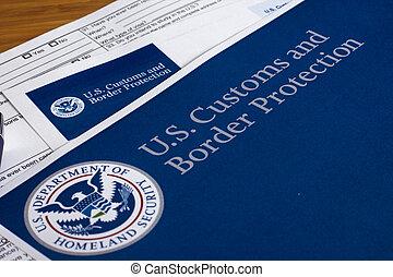bescherming, grens, ons, douane