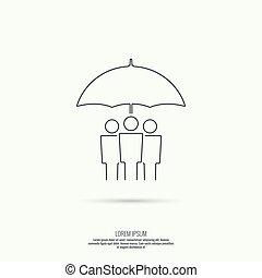 bescherming, groep, mensen, onder