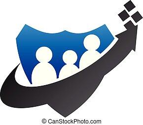 bescherming, lidmaatschap, vector, ontwerp, mal, logo