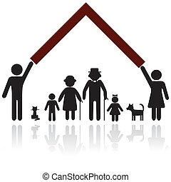 bescherming, mensen, silhouette, gezin