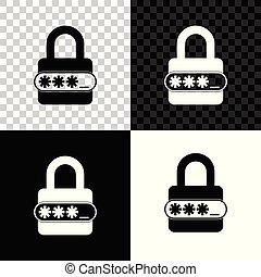 bescherming, privacy, slot, concept., witte , bescherming, vrijstaand, illustratie, transparant, toegang, achtergrond., vector, veiligheid, black , icon., wachtwoord, veiligheid, pictogram, veiligheid