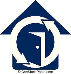 bescherming, vector, ontwerp, mal, thuis, logo