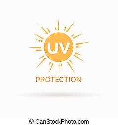 bescherming, zon, symbool, uv, vector, ontwerp, pictogram