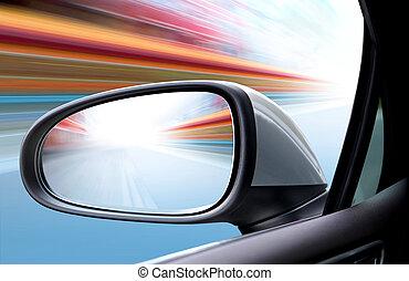 beschleunigen auto, auf, straße