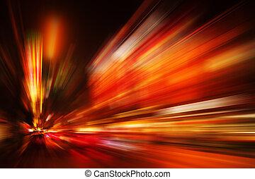 beschleunigung, road., geschäftskonzept, technologie, verwischen, zoom, schneller antrag, porzellan, roter hintergrund, nacht, honigraum, blurry