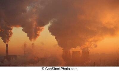 beschmutzen, fabrik, an, dämmern