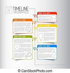 beschreibend, timeline, infographic, schablone, bericht, blasen