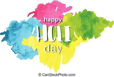 beschriftung, aquarell, card., explosion, gemalt, blust, rangpanchami, hindu, hand, fluid., fest, splashes., holi, textured, dhulandi, gezeichnet, glücklich, banner, tag, pulver