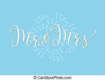beschriftung, dekor, einfache , herr, frau, wedding