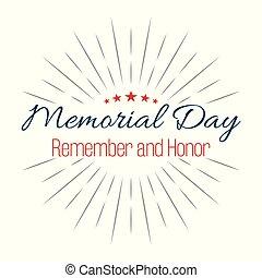 beschriftung, denkmal, erinnern, hintergrund, abbildung, honor!, vektor, sternen, weißes, day!, glücklich