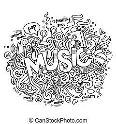 beschriftung, elemente, musik, doodles, hand