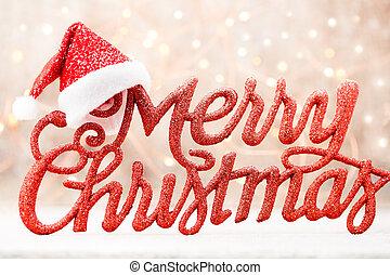 beschriftung, frohe weihnacht, feiertag, grunge., rotes