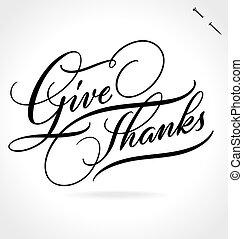beschriftung, geben, dank, hand