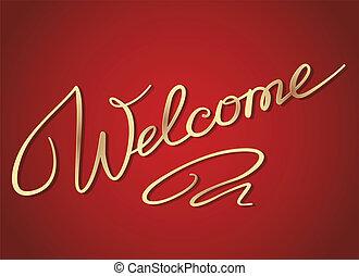 beschriftung, herzlich willkommen