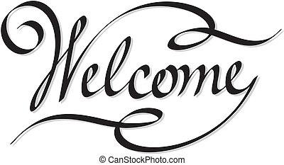 beschriftung, herzlich willkommen, hand