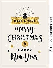 beschriftung, karte, hand, design, fröhlich, gezeichnet, weihnachten