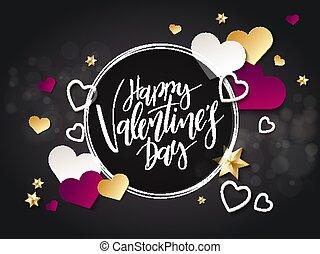 beschriftung, los, valentines, -, abbildung, hand, herz, ...