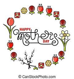 beschriftung, mütter, freigestellt, day., white., handgeschrieben, glücklich