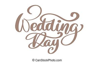 beschriftung, plakat, wedding, typographie, abbildung, calligraphic, hintergrund., vektor, text, hand, notieren, weißes, kalligraphie, tag