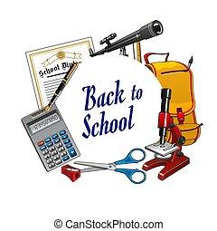 beschriftung, schule, rahmen, zurück, schreibwaren, werkzeuge